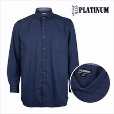 PLATINUM BIG SIZE Microfiber Mini Stripes Shirt PM9150 (Navy)