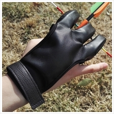 Archery Shooting Guard 3 Finger Protector Leather Glove Arrow Hunting