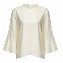 CASUAL HALTER FLARE SLEEVE PLUS SIZE LOOSE SHIRT FOR WOMEN (WHITE, SIZ