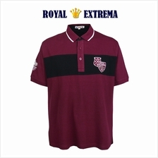ROYAL EXTREMA BIG SIZE Polo Shirt Cut & Sewed with Badges RE2017 (Maroon)