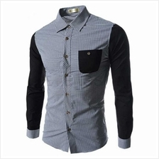 CASUAL GRID DESIGN COLOR BLOCK MALE LONG SLEEVE SHIRT (BLACK)