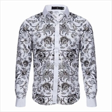SLIM FIT FLORAL PRINTED LONG SLEEVE CASUAL SHIRT FOR MALE (WHITE)
