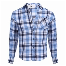 CASUAL GRID DESIGN SLIM FIT MALE LONG SLEEVE SHIRT (AZURE)