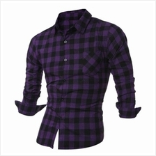 LONG SLEEVE BREAST POCKET BUTTON UP PLAID SHIRT (PURPLE)