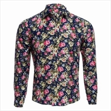 FLORAL PRINT TURN DOWN COLLAR LONG SLEEVE CASUAL SHIRT FOR MALE (CADET