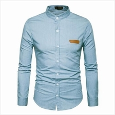 STAND COLLAR PU LEATHER EDGING CHAMBRAY SHIRT (LIGHT BLUE)