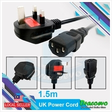 Desktop Power Cord with Fuse 13A 3 Pin UK Plug 1.5M