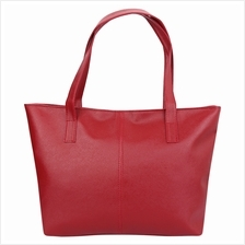 FASHIONABLE PURE COLOR ZIPPER TYPE PU LEATHER WOMEN BAG (RED)