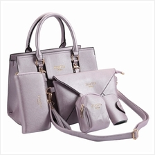 ELEGANT LETTER PRINT ZIPPER DESIGN BAGS SET FOR LADIES (LIGHT PURPLE)