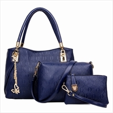 WOMEN 3PCS TOTE BAG PU LEATHER HANDBAG PURSE BAGS SET (BLUE)
