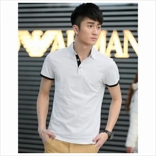 MS0001 Classic Solid Color Business Lapel Cotton Short-Sleeved T-Shirt