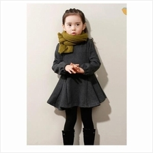CC0007D New Bow Flounced Solid Color Long-Sleeved Dress
