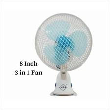 3 In 1 Angle/Adjustment 2 Speed Desk/Clip/Wall Fan (8 Inch) HJ-180