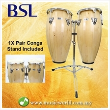 BSL Full Size Conga Natural Percussion Drum Pair Congas Set Adjustable