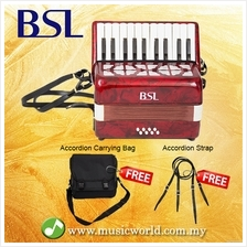 BSL Accordion 22 Key 8 Bass Accordion Wind Piano Organ Red With Bag
