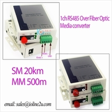 RS485 over Fiber optic modem converter Single mode Industry 20KM FC Access Con