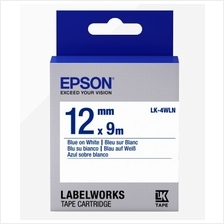 Epson Tape Label Blue On White 12x9 (LK-4WLN)