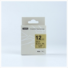 Epson Tape Label Black On Gold 12x8 (LC-4KBM)