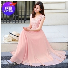 Elegant Western Design Women Lady Chiffon Maxi Dress