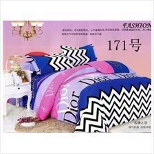 QUEEN SIZE FITTED BEDDING SET / 3PCS / ZIG-ZAG