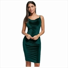 BODYCON SPAGHETTI STRAP FITTED VELVET TIGHT DRESS (BLACKISH GREEN)