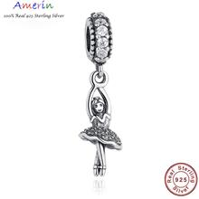 AMERIN 100% Real 925 Sterling Silver Ballerina,CZ Dangling Necklace