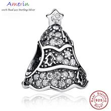 AMERIN 100% Real 925 Sterling Silver Christmas Tree Bracelet Necklace