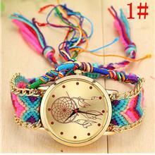 Women Colorful Ethnic Weaved Jewelry Bracelet Watches Dreamcatcher