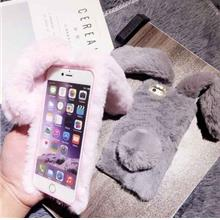 Cute Rabbit Style Cell Phone Accessory Warm Furry TPU Case For iPhone