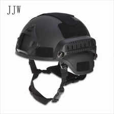 JJW TACTICAL MILITARY AIRSOFT PAINTBALL HELMET WITH MOUNT RAIL (BLACK)