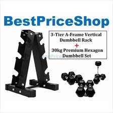 30KG Premium Hexagon Dumbbell Set with 3-Tier A Frame Dumbbells Rack