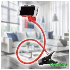 Smart Phone Lazy Bed Stand Double Clip Holder Mount (Red)