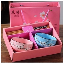558117034408 Bowl and chopsticks gift set - 1 to 6 bowls