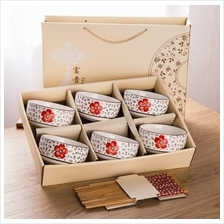 558777293910  Bowls and chopsticks gift set -1 to 6 bowls set