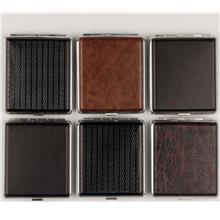 Cigarette case leatherette chrome frame assorted (606614)
