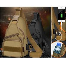 Waterproof Canvas Army Military Water Bottle Shoulder Messenger w USB