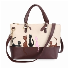 LADY SWEET CARTOON ANIMAL CAT PATCHWORK RIVET HANDBAG TOTE SHOULDER ME