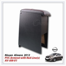 Nissan Almera 2012 PVC Arm Rest With Red Line(S) - AV-AM-01
