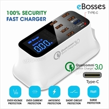8 USB Charger with Type-C Multi Device Charging iPhone ,iPad, Samsung,