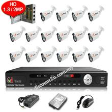 CCTV 16-CH HD DVR with IR BULLET Camera Package (W1-0D16L)