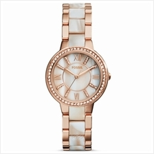 Fossil ES3716 Women Virginia Rose-Tone and Horn Acetate Stainless Steel Watch