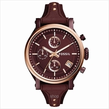 Fossil ES4114 Women Original Boyfriend Sport Chronograph Wine Leather Watch