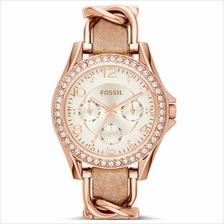 Fossil ES3466 Women's Riley Multifunction Rose-Tone and Sand Leather Watch