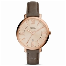 Fossil ES3707 Women Jacqueline Three-Hand Date Grey Leather Watch