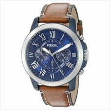 Fossil Grant Blue Dial Chronograph Leather Mens Watch - FS5151)