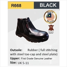 Hercules Middle Cut Safety Shoes Cow Leather R668 Made In Malaysia