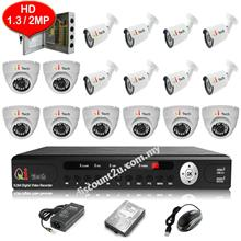 CCTV 16-CH HD DVR with IR DOME + BULLET Camera Package (W1-8D8L)