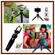 YunTeng 228 Mini Tripod with Phone Holder Clip Hand Grip Tripod Monopo