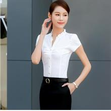 WS0188 Short-Sleeved White-Collar OL Shirt