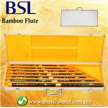 BSL 7 Piece Chinese Bamboo Flute Set Black Bamboo C D E F G A Bb Key
